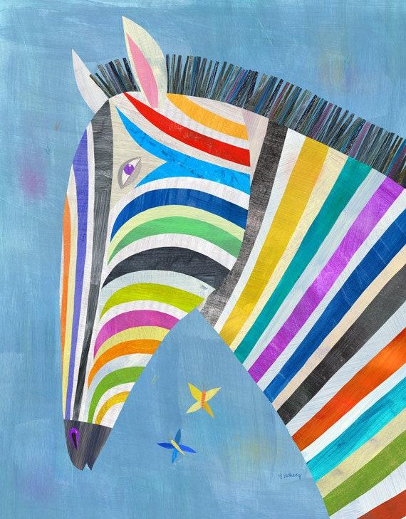 Colorful Zebra Print Nail Art Tutorial: Colorful Zebra Canvas Art Print Illustration For Kid's