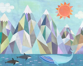 Mountain Adventure by the Sea | Canvas Art Print, Geometric Seascape