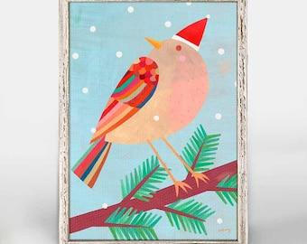 "Holiday Collection: Festive Bird | 5""x7"" Mini Framed Canvas Print, Winter Art, Holiday Decor"