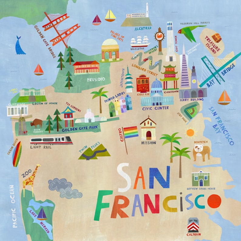 5a4e720b8f3 San Francisco Illustrated City Map Giclee Art Print San