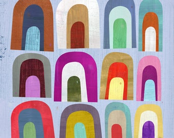 Mini Arches | Abstract Art Print, Modern Home Decor, Geometric Illustration for Kid's Room or Nursery