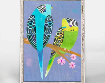 "Parakeet Pair   5""x7"" Framed Mini Canvas Bird Print for Children or Adults."