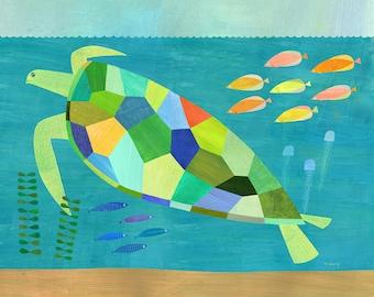 Sea Turtle Swim | Giclee Art Print for Beach House, Ocean Themed Room or Nursery