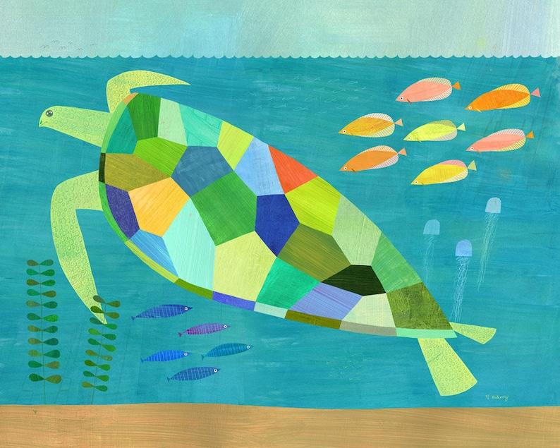 Ocean Rainbow Sea Creatures Wallpaper Border by Melanie Mikecz. SALE!