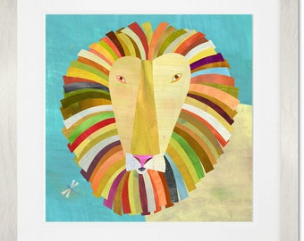 Colorful Lion, Framed Art Print, Nursery or Kids Room Decor, Lion Illustration, Perfect Baby Shower Gift