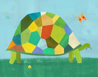 Grazing Tortoise | Giclee Art Print, Children's Animal Illustration for Nursery, Kids Room, Boys Room