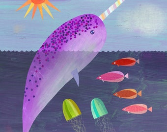 Purple Narwhal, Unicorn of the Sea   Narwhal Art Print for Ocean Themed Room or Nursery, Giclee Paper Print