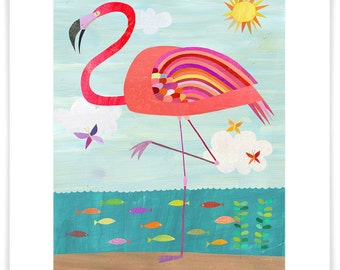 Very Pink Flamingo, Giclee Art Print, Perfect for Girl's Room or Nursery