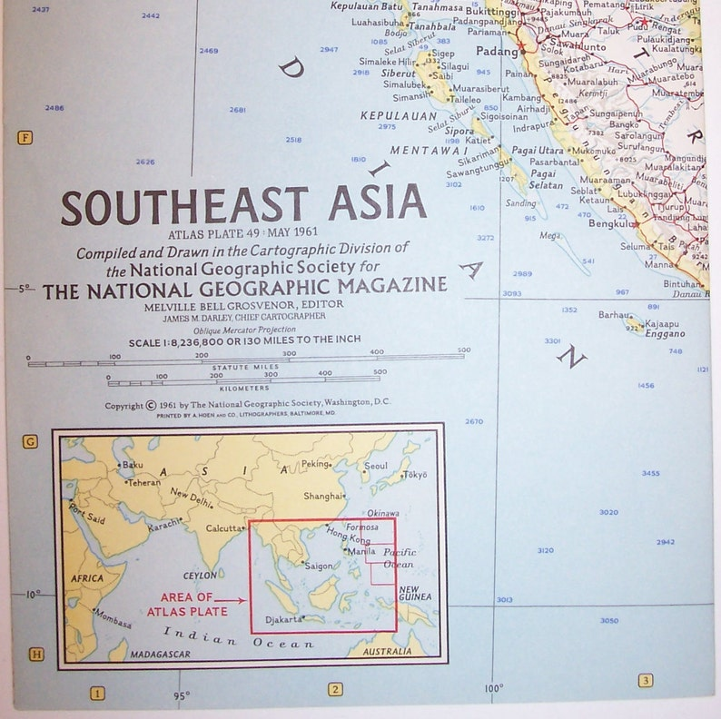 Geographical Map Of Southeast Asia.Vintage 1961 Southeast Asia National Geographic Map Burma Thailand Cambodia Viet Nam 25 W X 19 T Nice Free Shipping