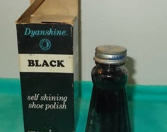 Vintage 1960's or 1970's Dynashine Shoe Polish Ribbed Glass Bottle-Original Box-Top with Dauber