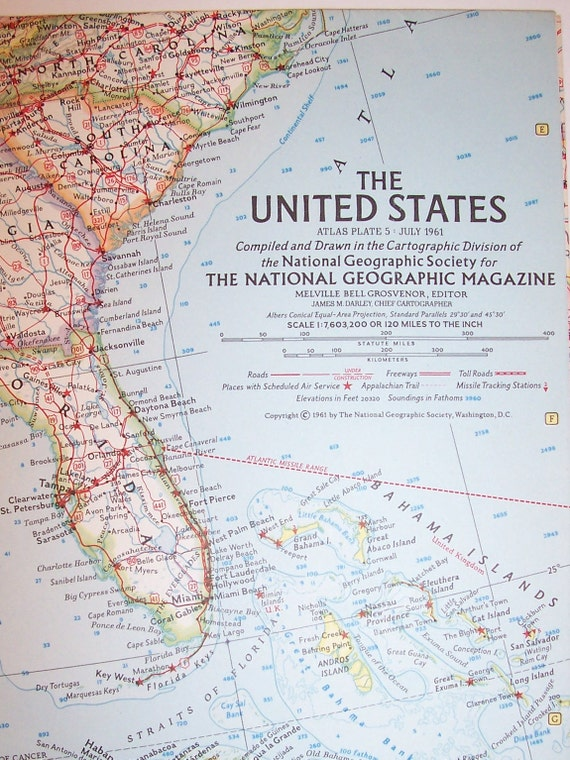 Vintage 1961 National Geographic Map-UNITED STATES-25 | Etsy