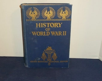 Vintage 1945 History of World War II-Armed Services Memorial Edition-Hardback-FREE Shipping!