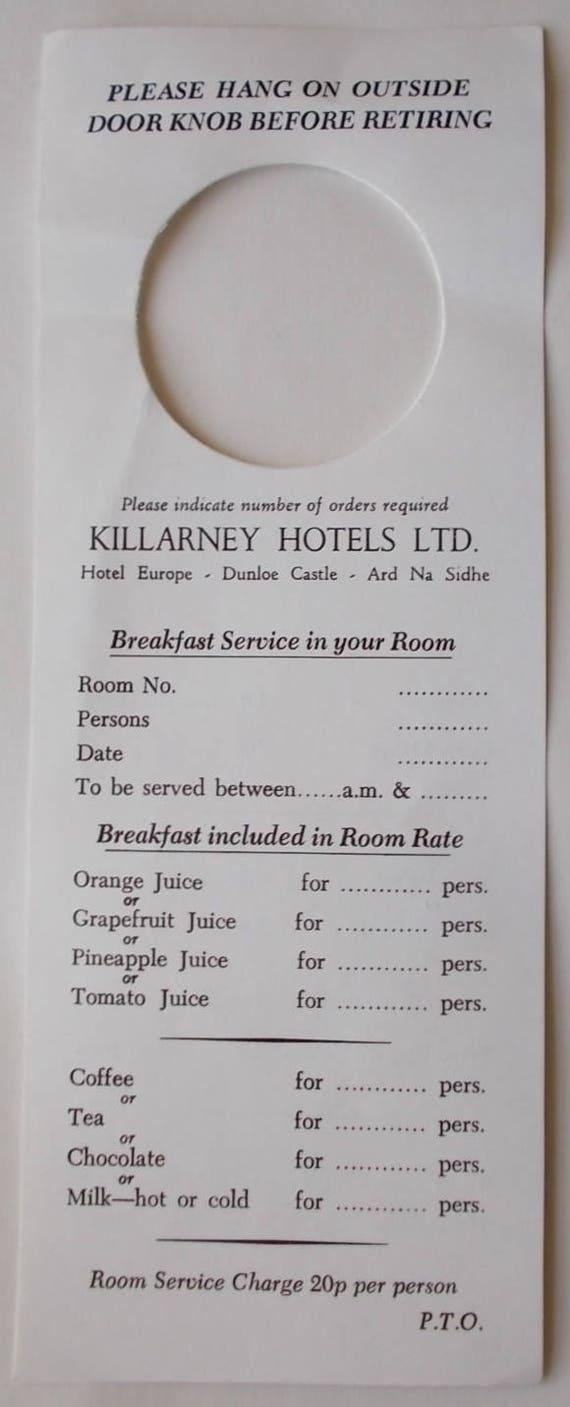 Vintage 1980 S Killarney Hotels Door Knob Card Breakfast Room Service Order Menu Free Shipping