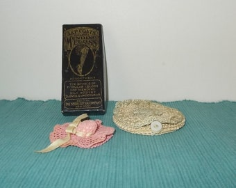 Vintage or Antique EMPTY JP Coats Mending Floss Box & 2 Crocheted Pin Cushions-Free Shipping