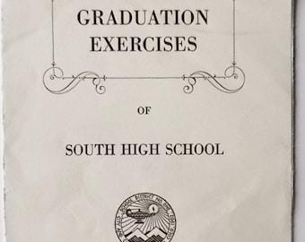 Vintage 1938 South High School Graduation Program-Denver CO-Graduation Exercises-Free Shipping!