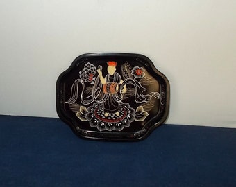 Vintage 1960s Elite Tin Tip or Trinket Tray-made in-England-Chinese Drummer-FREE SHIPPING