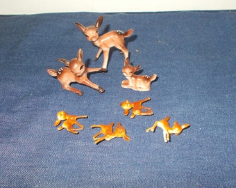 Vintage 1960s or 1970s Plastic Deer & Fawns-Large and Small Sizes-Christmas Decorations-FREE SHIPPING!