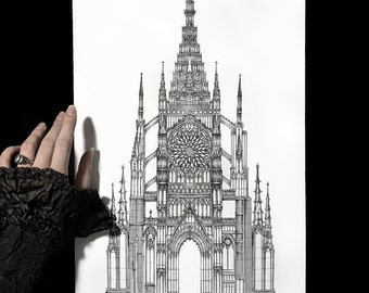 Gothic Cathedral Architecture Drawing