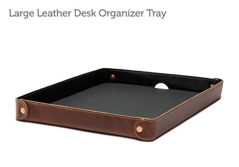 Large Leather Desk Organizer Tray Leather Desk Accessory