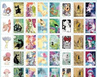 Stamp Style Washi tape 8 designs - original illustrations, planner journal supplies