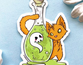 """Cat with Ghost Potion - 3"""" Waterproof vinyl sticker"""