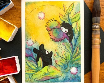 3 DESIGNS! - Nature spirits, fantasy florals, nature study, Fine art print of Original watercolor painting