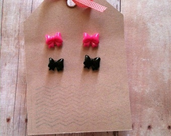 Mini Bow Earrings (pink and black)