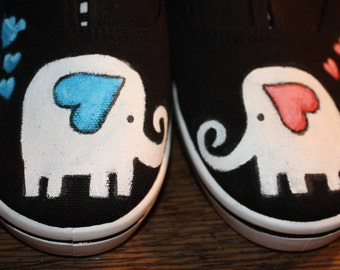 126580f5b31b ELEPHANT LOVE Hand Painted Shoes. Slip on any size! Custom made for you in  3-5 days Toms