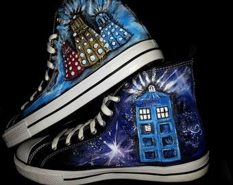 7f1ca2779664 Doctor Who Shoes Handpainted Men s Size 10 Converse Daleks Tardis