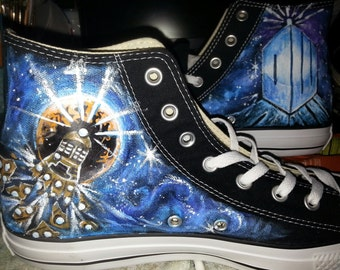 855db69ae038 DOCTOR WHO hand painted Converse FOUR one of a kind paintings Bad Wolf  Exploding Dalek Union Jack Tardis Galaxy Any Size made custom 4 you