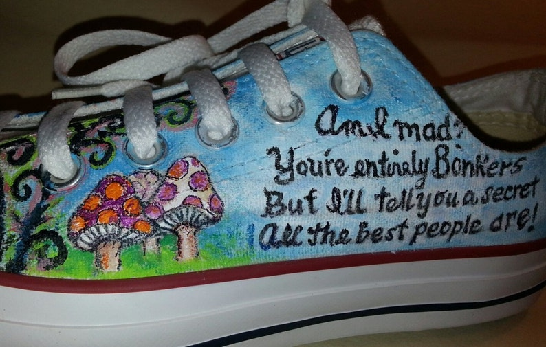 fe252aeac5 Alice in Wonderland Hand Painted shoes sneakers Mad Hatter