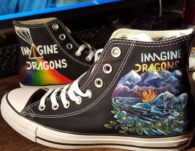 54f63d59e905 Imagine Dragons Hand Painted custom Converse sneakers Fully