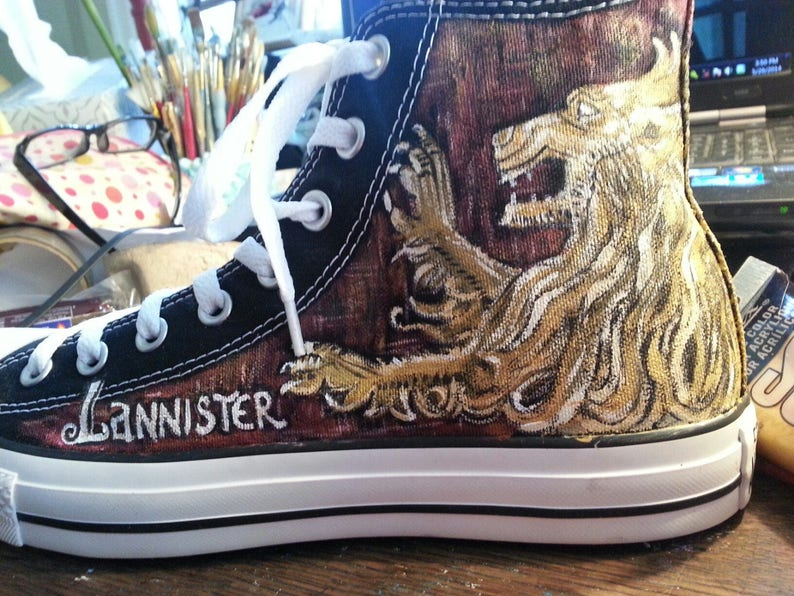 0b293b0768a6 GAME of THRONES Hand painted CONVERSE Shoes Sneakers Stark
