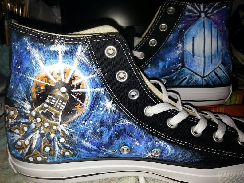 332b24d088a77a DOCTOR WHO hand painted Converse FOUR one of a kind paintings