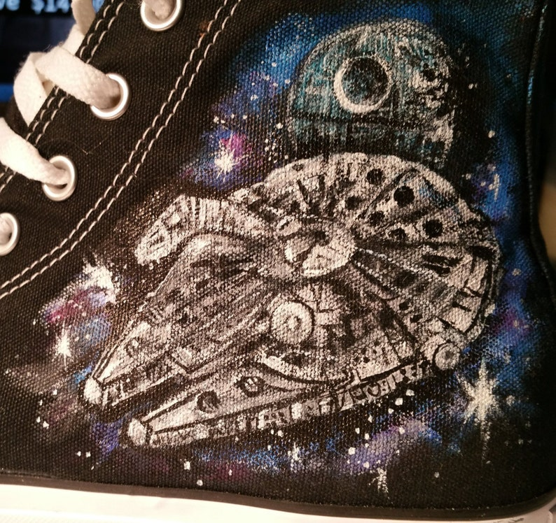 391aa84bee9f Mars Attacks Star Wars Sloth Converse Shoes Hand Painted
