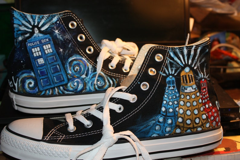 b350607b48b6 Doctor WHO Handpainted Shoes Don t Blink Dalek Allons Y
