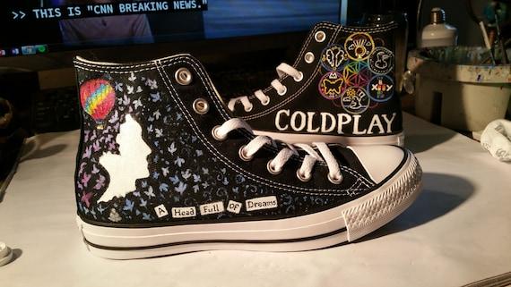Coldplay Converse Kopf voller Träume Custom painted Schuhe Sneakers Rush of Blood Fallschirme Chris Martin