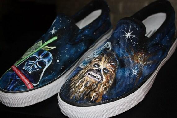STAR WARS handpainted SHOES Any size Men Women Chubaka Yoda Darth Death Star