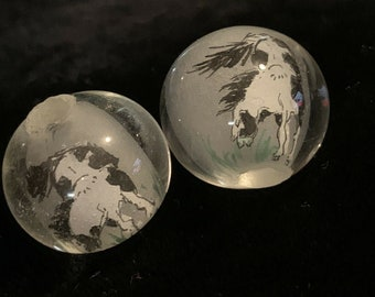 vintage Glass button 2 hole reverse White pressed glass with black paint trim c1950/'s.