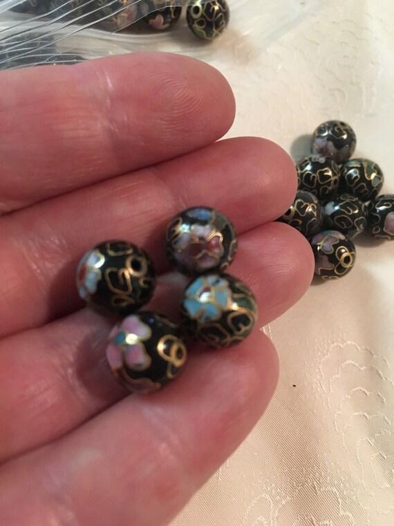 10 Gold Cloisonne Beads Handmade 8mm Round Shape Flower Design Enamel Metal