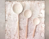 Ceramic Spoon small spoon serving Home Decor Handmade Collector in white Glaze salt sugar spoon