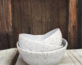 gift handmade ceramic nesting bowls serving  in satin speckled grey