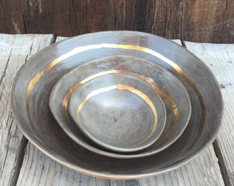 In stock ready to ship Wedding gift nesting set bowls handmade ceramic  salad dip pasta bowl in gray and 22k gold accent