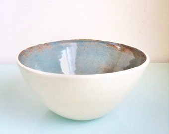 gift handmade ceramic bowl serving soup salad bowl in creamy white and rustic blue glaze