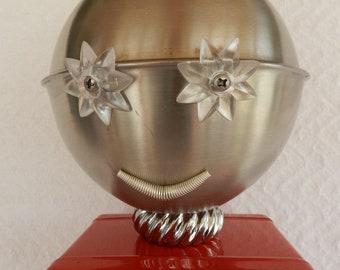 Lady Robot-Woman Robot-Found Object Sculpture-Folk Art-Junk Art-Assemblage