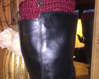 Burgundy boot cuffs
