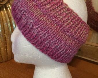 Pink and tan variegated headband