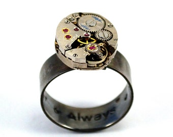 Personalised Steampunk Ring, Secret Message Ring, Watch Movement Ring, Hidden Message Ring