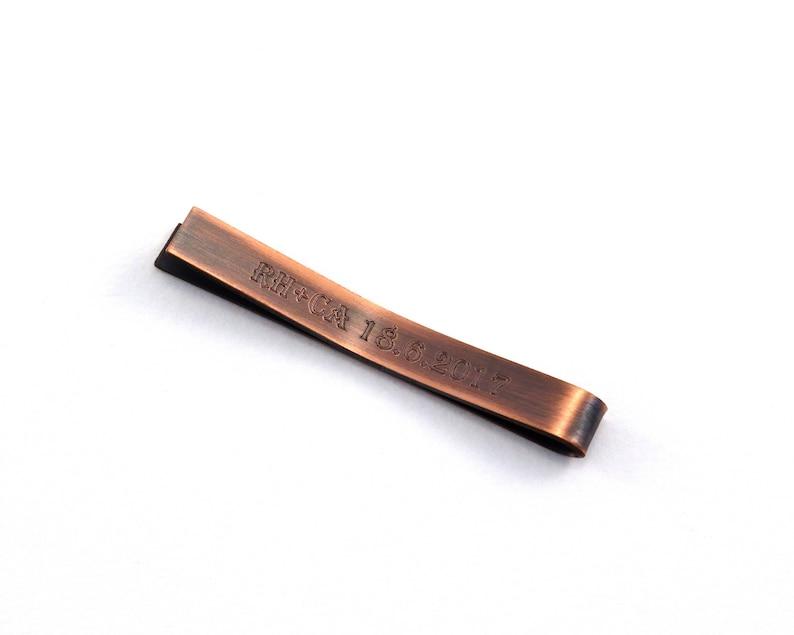 Groomsmen Gift Engraved Tie Pin Secret Message Copper Tie Bar Graduation Gift for Men Personalised Tie Clip