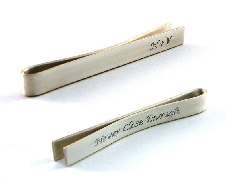2f2d96b894de Monogram Tie Clip Engraved Silver Tie Bar Personalized Tie | Etsy